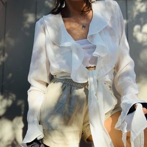Stunning white mesh ruffled blouse